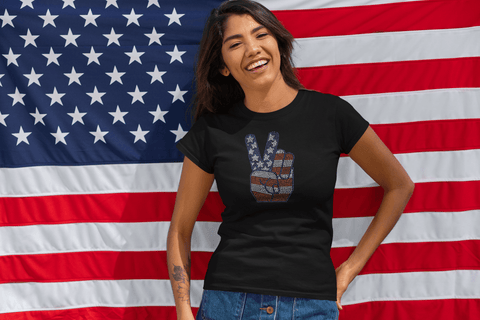 Image of July 4th Peace Sign Rhinestone T-Shirt