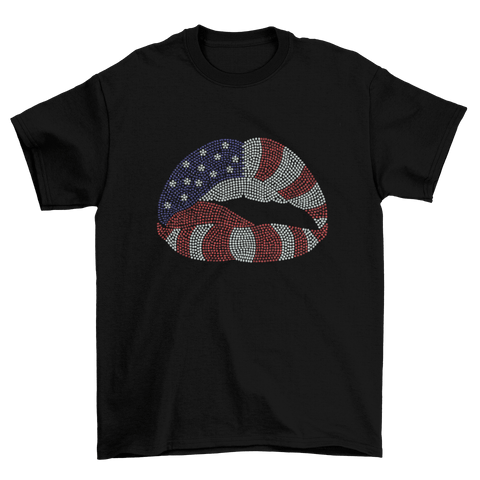Rhinestone 4th of July Lips T-Shirt