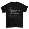 Queens Are Born In February Birthday Rhinestone T-Shirt