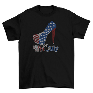 4th of July Rhinestone Heel Stiletto T-Shirt