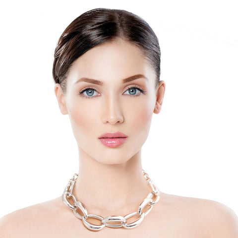 Silver Hollow Chain Link Necklace