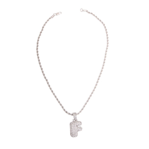Image of F Rhinestone Silver Necklace