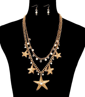 Starfish Charm Necklace Set