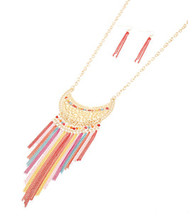 Tassel with Metal Necklace Set