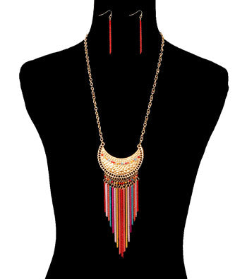 Image of Tassel with Metal Necklace Set