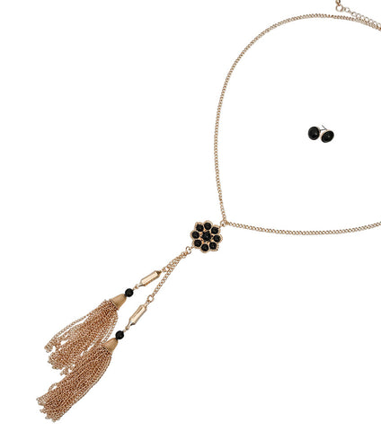 Image of Long Gold Tassel Necklace with Black Flower