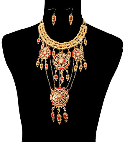 Image of Gold and Red Mandala Necklace Set