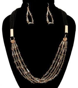 Beads Suede Necklace Set