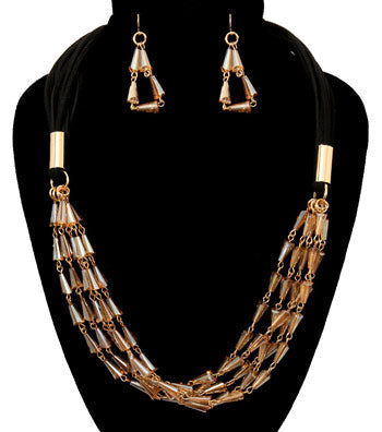 Image of Beads Suede Necklace Set