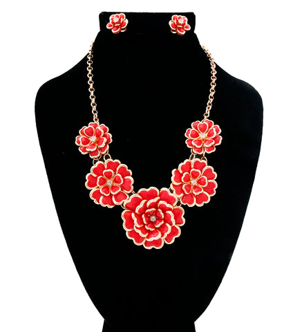 Image of Gold Red Metal Flower Necklace Set