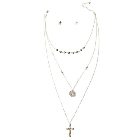 Image of Cross and Coin Necklace Set