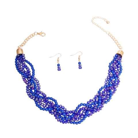 Image of Blue Glass Bead Twist Necklace