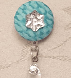 Bedazzled Teal Fabric Cover Button