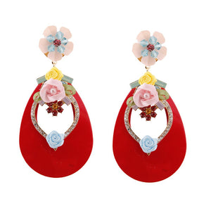 Red Teardrop Earrings with Rhinestone and Flower Detail