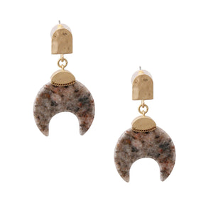 Gold Drop Earrings Featuring Natural Gray Stone Horn Shaped Detail