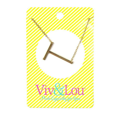T Gold Initial Necklace