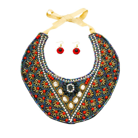 Image of Multi Color Bead Bib Necklace Set with Rhinestone Detail