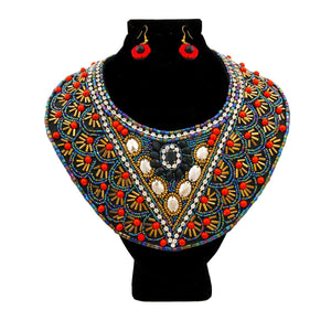 Multi Color Bead Bib Necklace Set with Rhinestone Detail