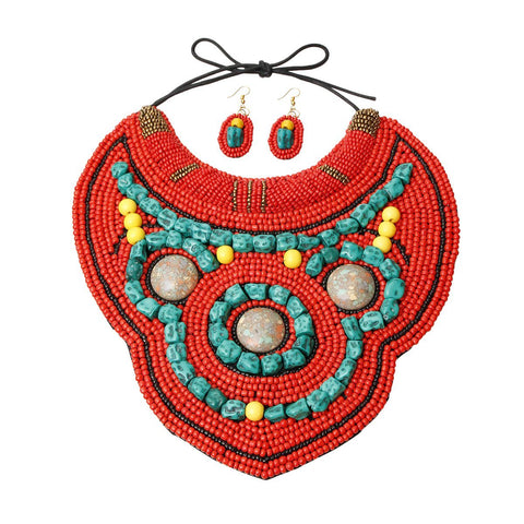 Image of Colored Bib Necklace Set