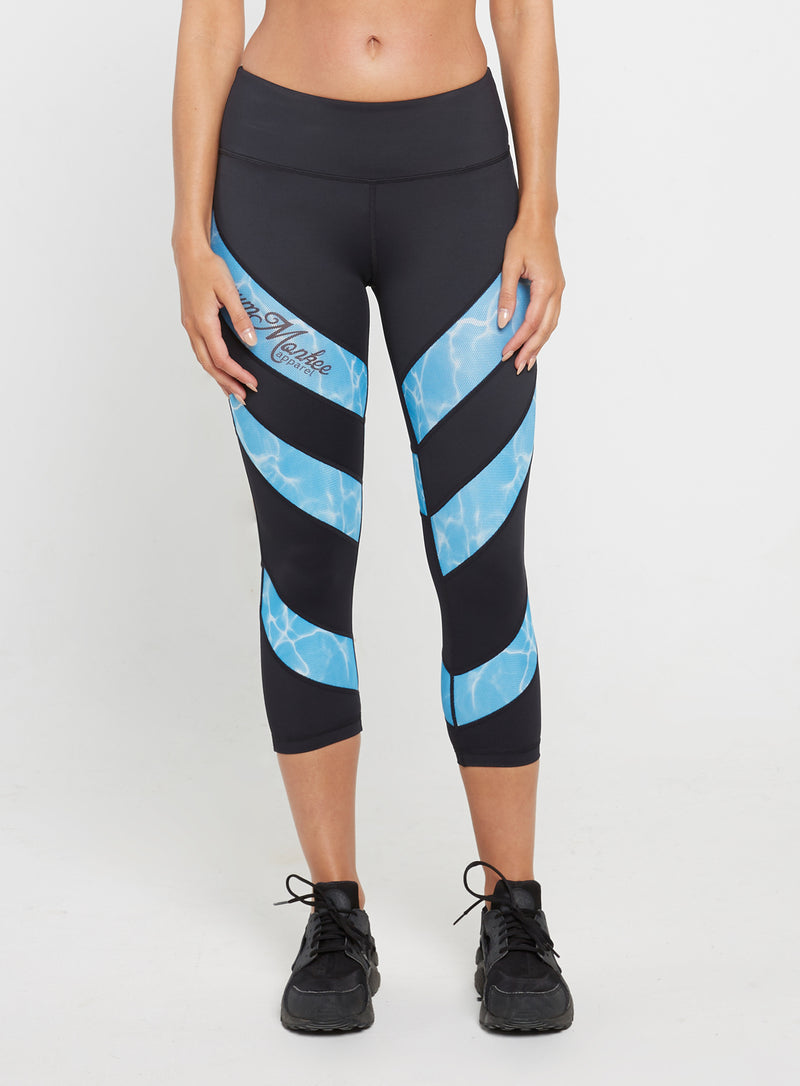 Gym Monkee - Ladies Aqua Capris Sublimation Leggings FRONT