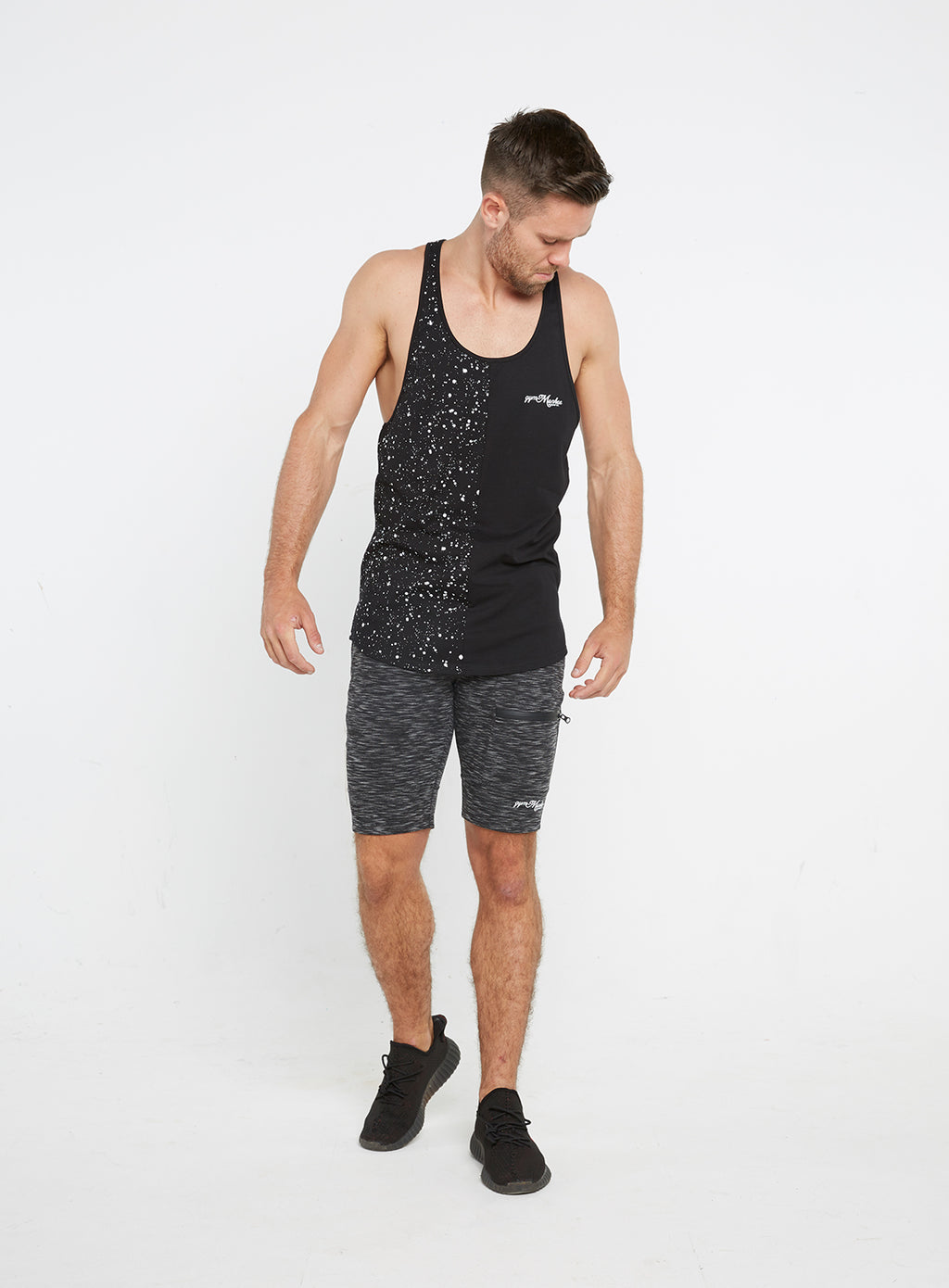 Gym Monkee - Black Speckled Vest FRONT FULL