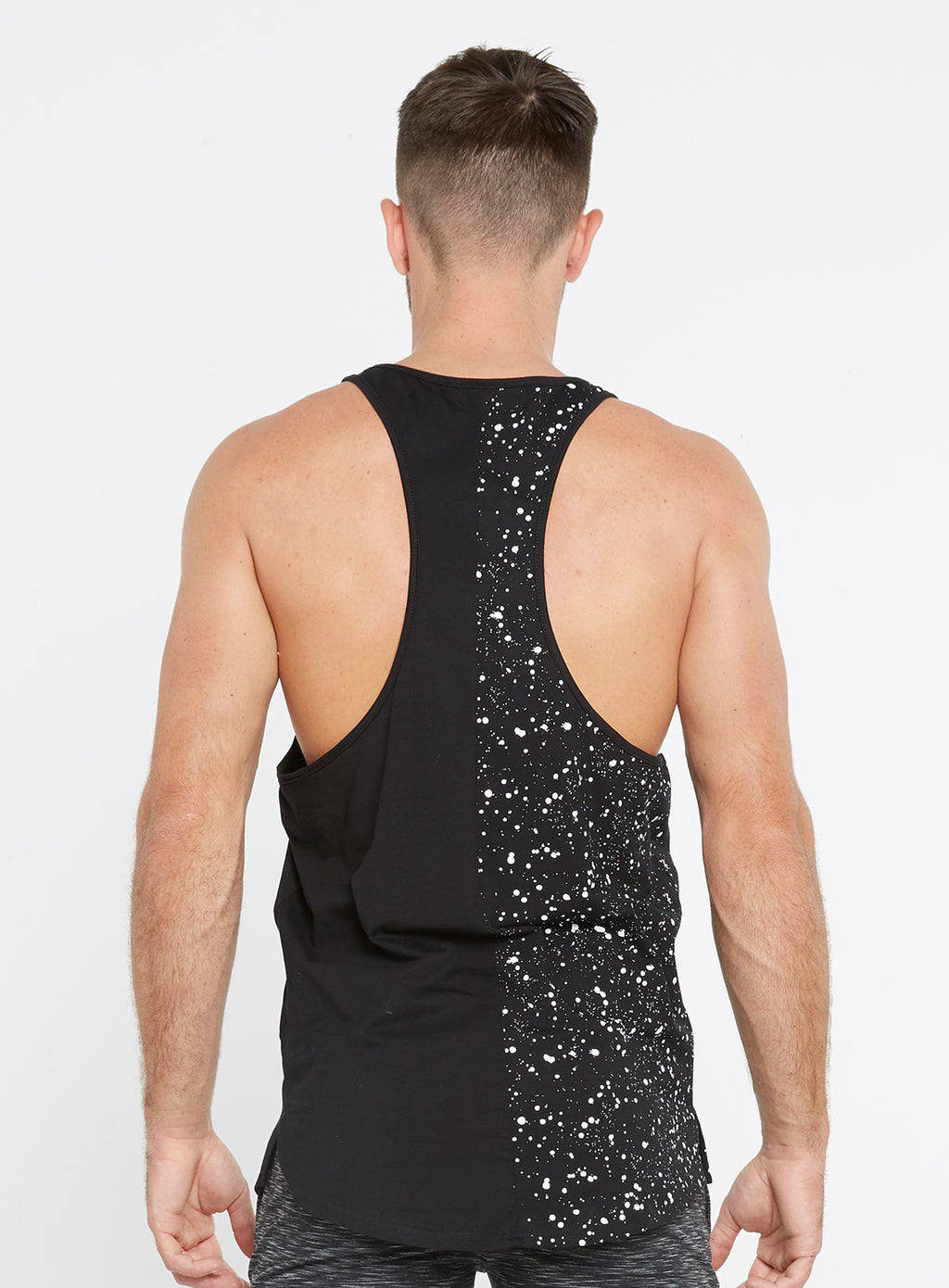 Gym Monkee - Black Speckled Vest REAR
