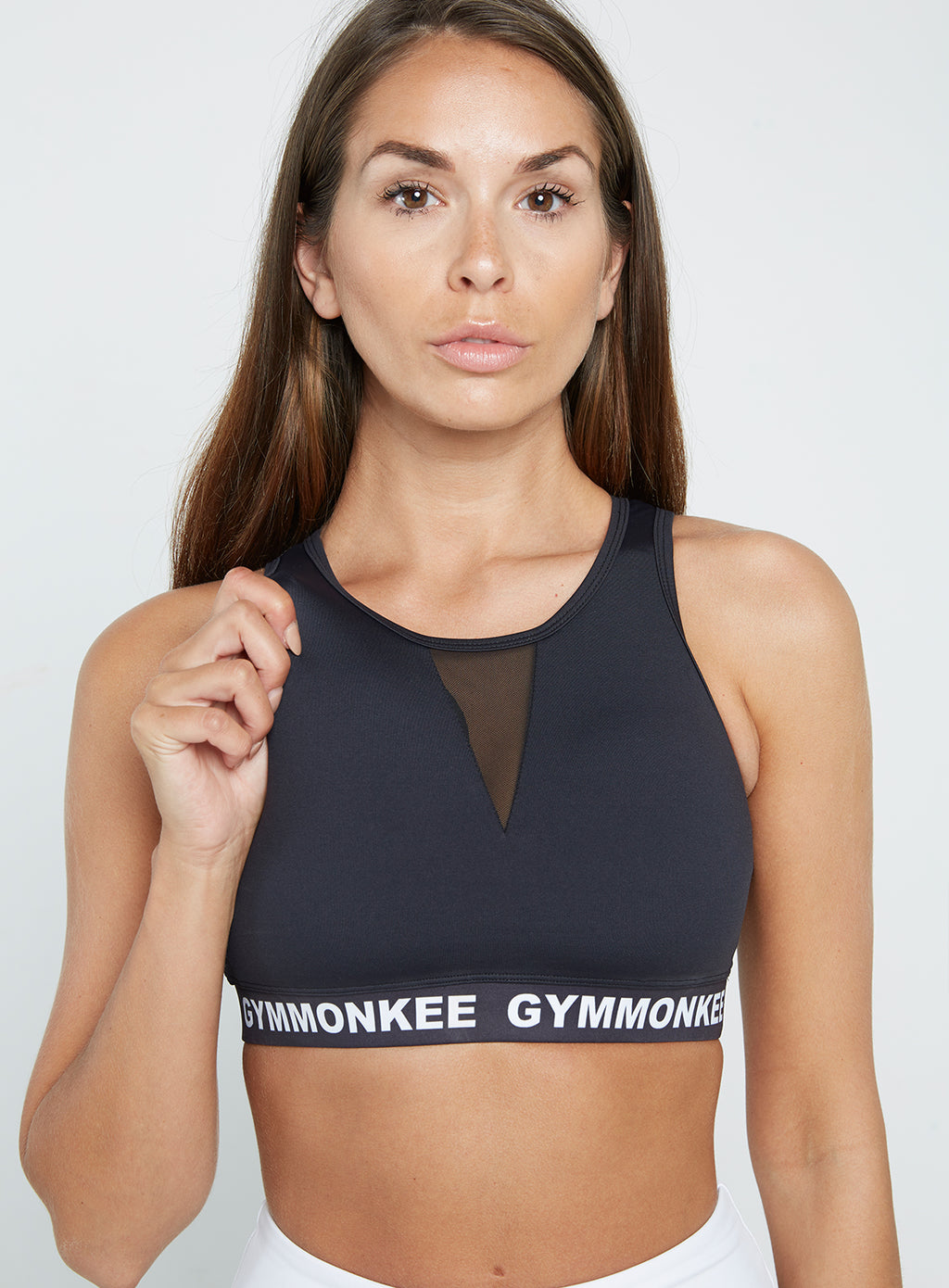 Gym Monkee - Black Sports Bra NECK