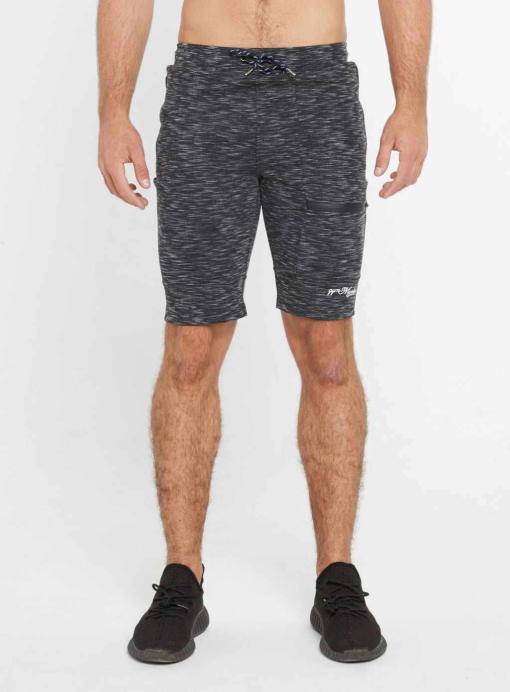 Gym Monkee - Black Striped Shorts FRONT