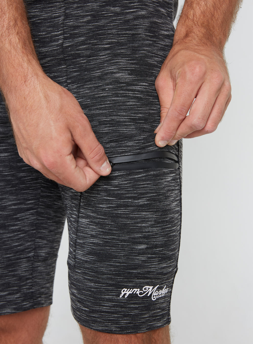 Gym Monkee - Black Striped Shorts ZIPPED POCKETS