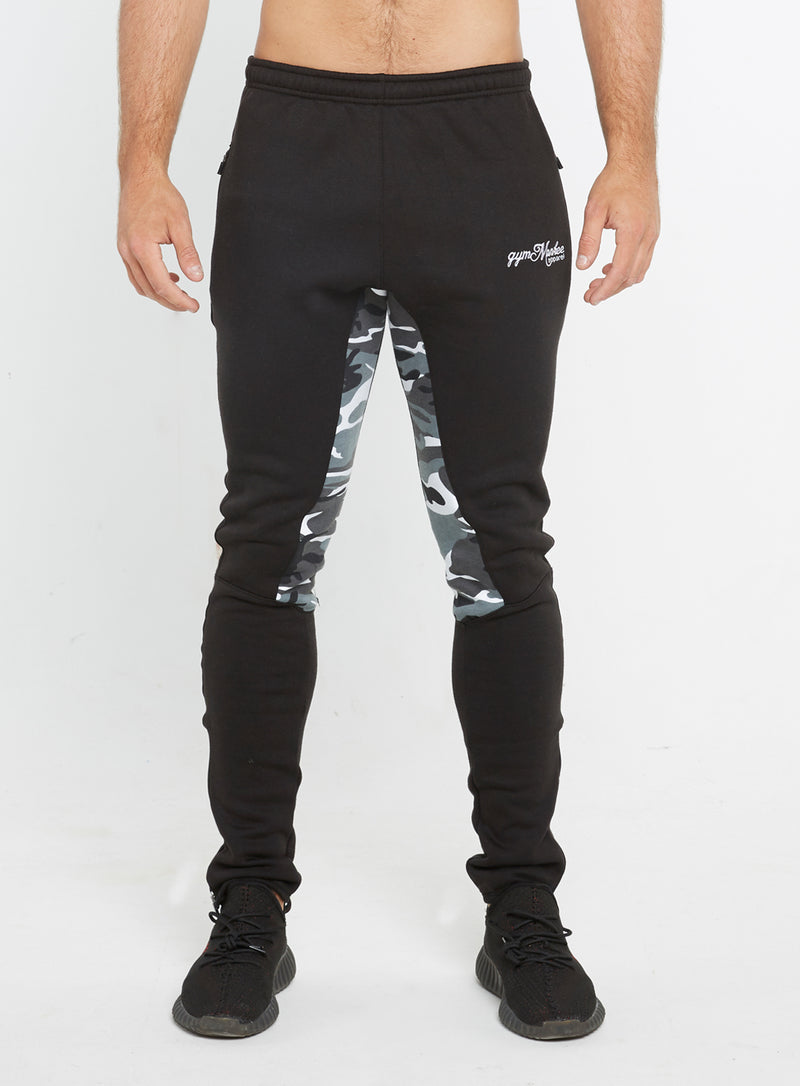Gym Monkee - Black and Camo Joggers FRONT