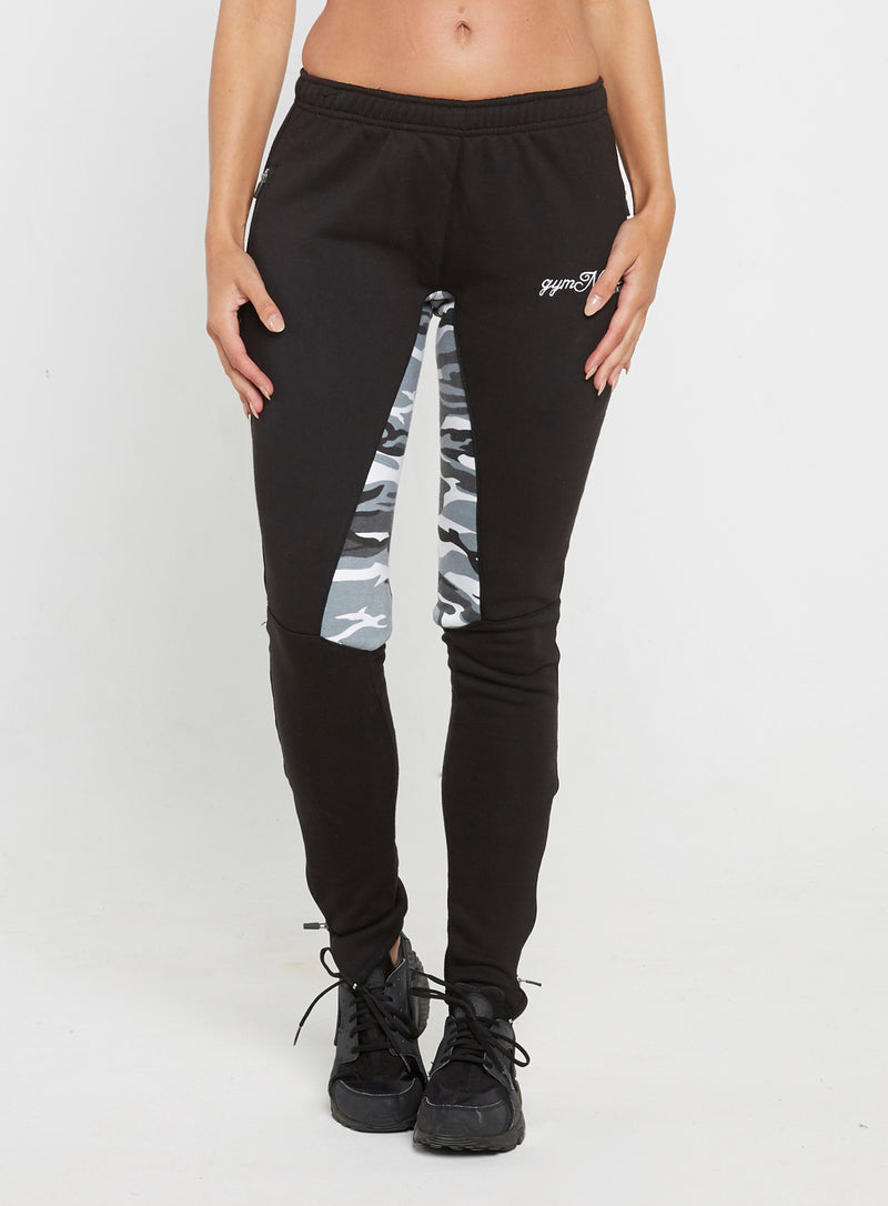 Gym Monkee - Ladies Black and Camo Joggers FRONT