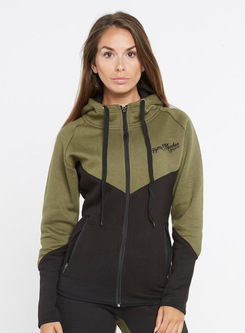 Gym Monkee - Ladies Black and Khaki Hoodie FRONT