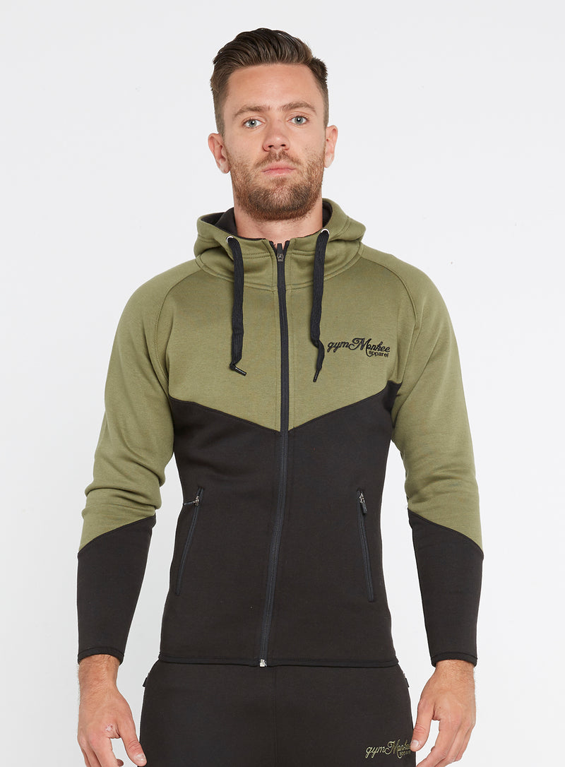 Gym Monkee - Black and Khaki Hoodie FRONT