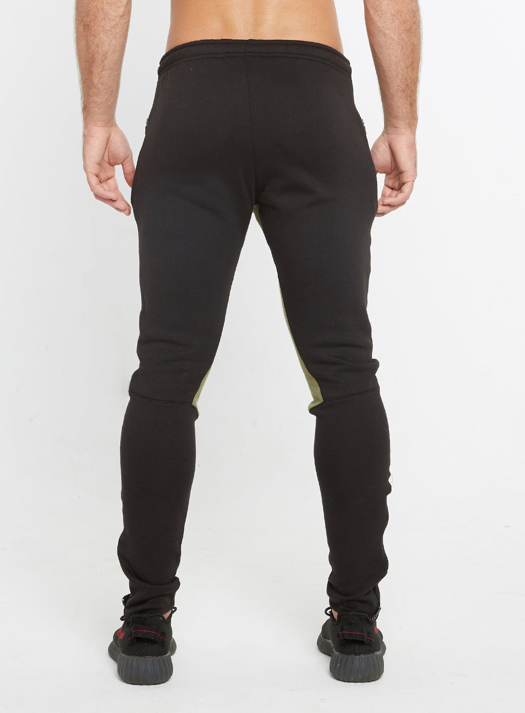 Gym Monkee - Black and Khaki Joggers REAR