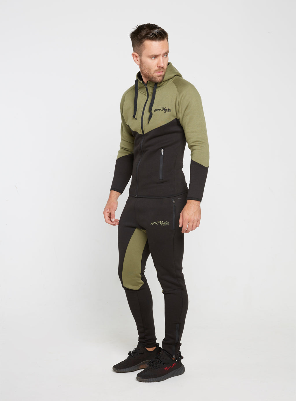 Gym Monkee - Black and Khaki Joggers FRONT MOVING
