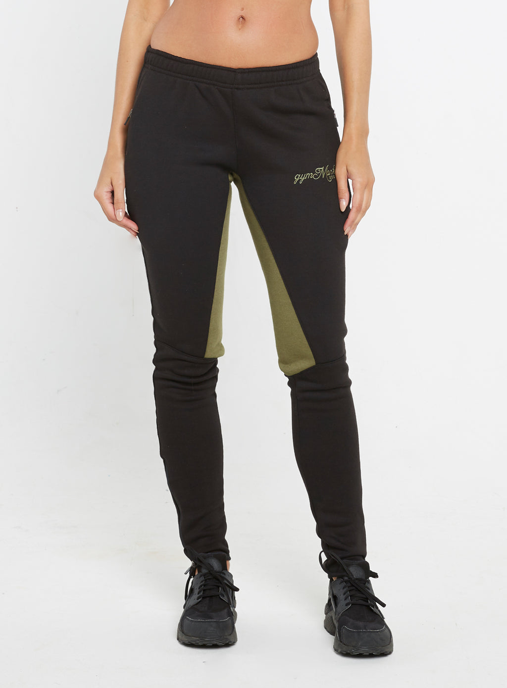 Gym Monkee - Ladies Black and Khaki Joggers FRONT