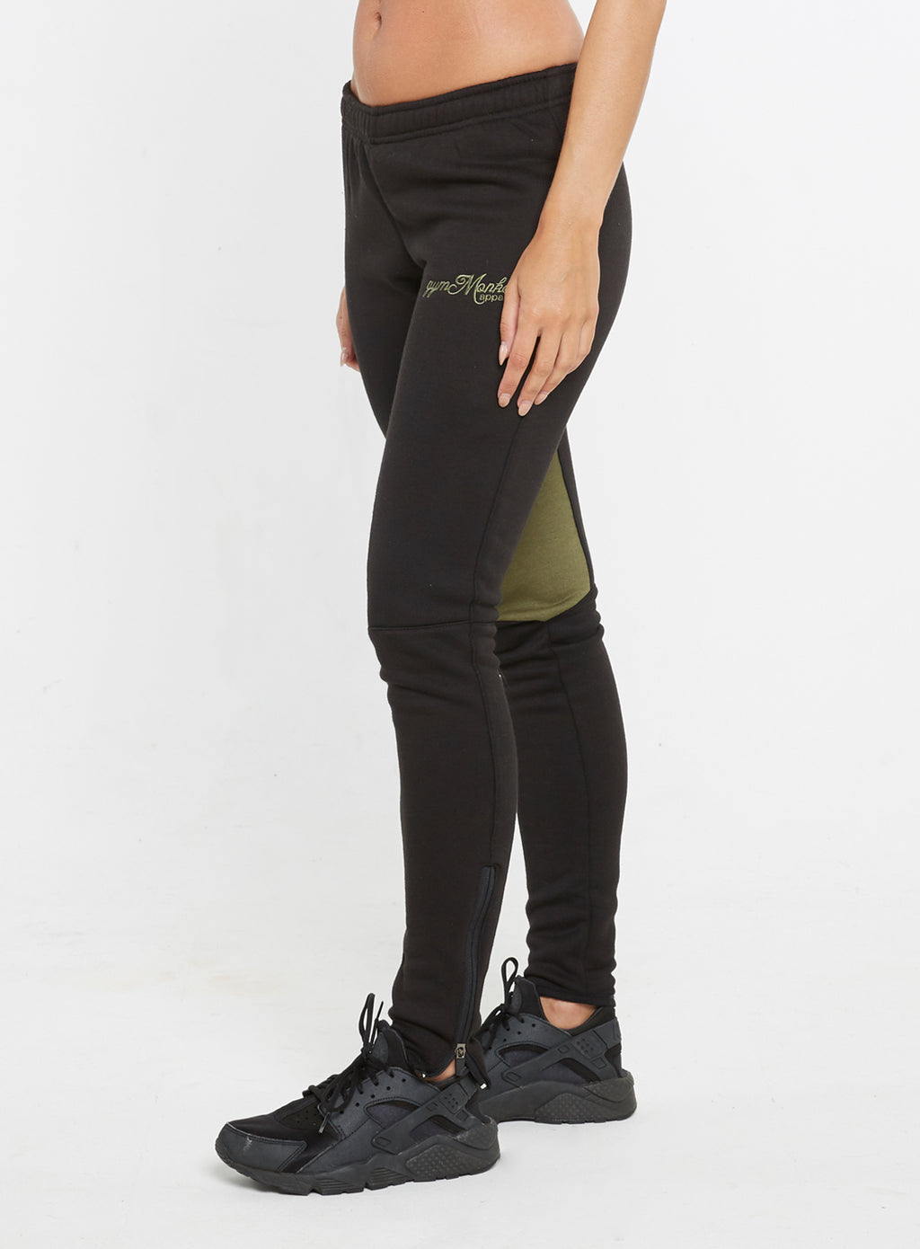 Gym Monkee - Ladies Black and Khaki Joggers LEFT