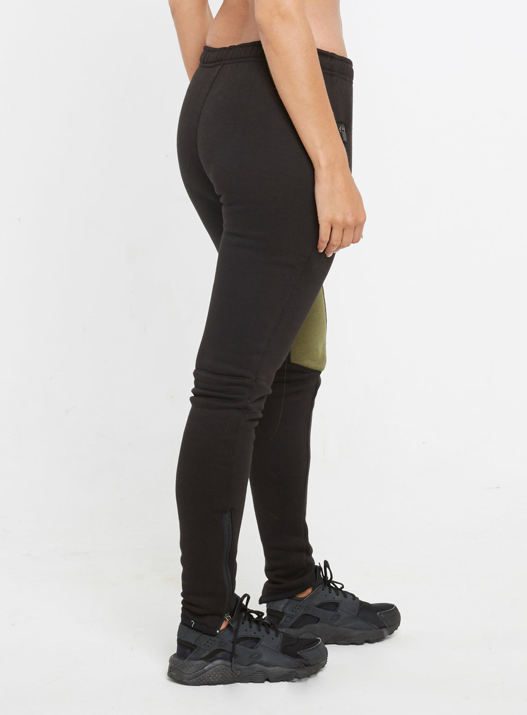 Gym Monkee - Ladies Black and Khaki Joggers RIGHT