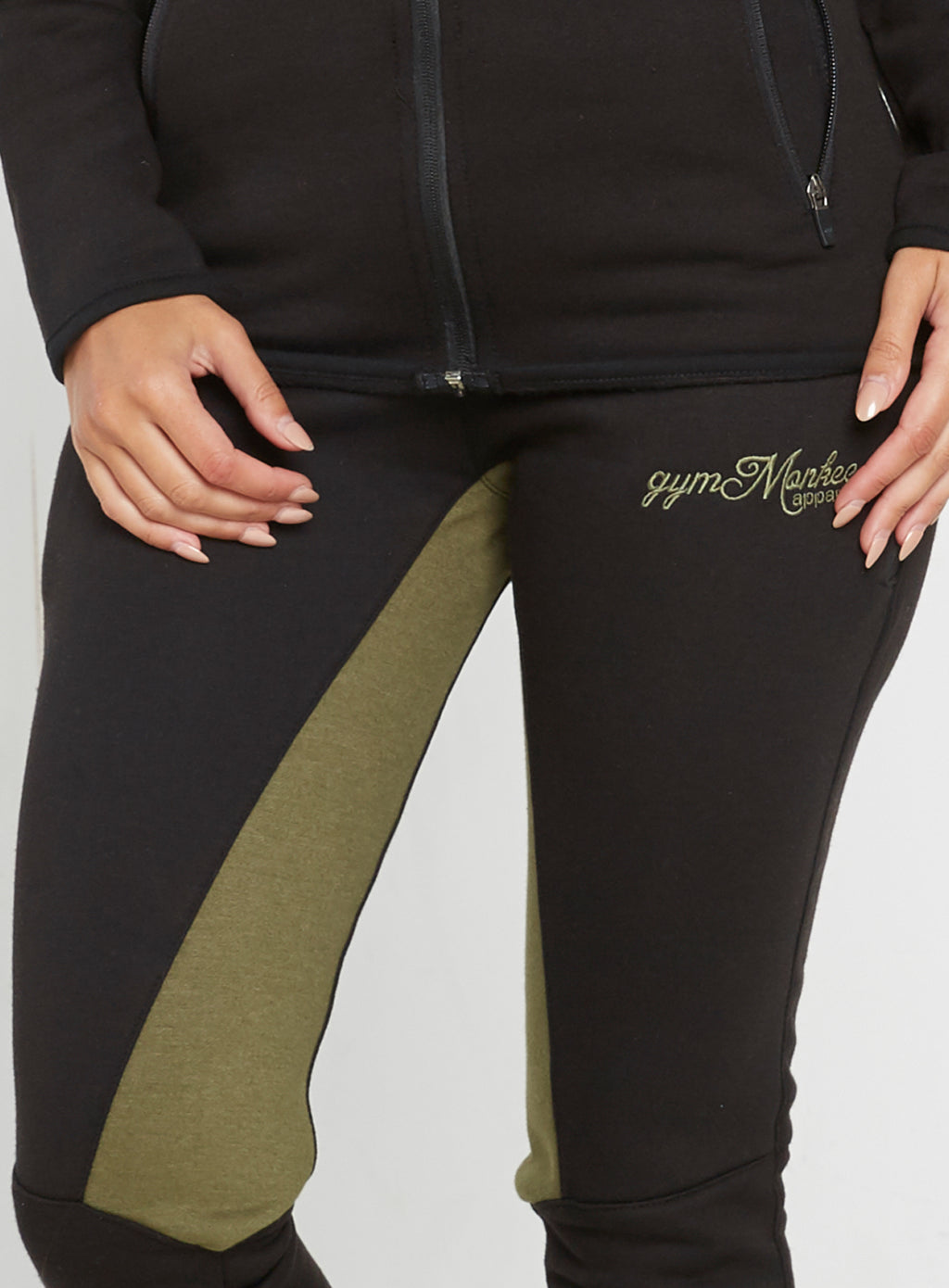 Gym Monkee - Ladies Black and Khaki Joggers WAIST