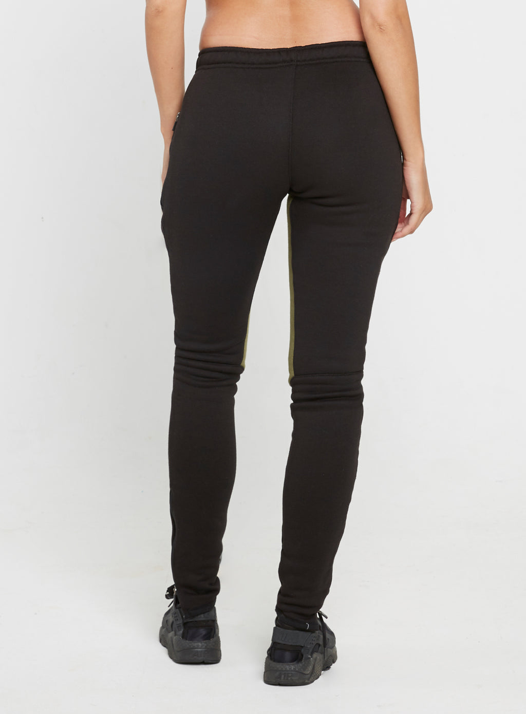 Gym Monkee - Ladies Black and Khaki Joggers REAR