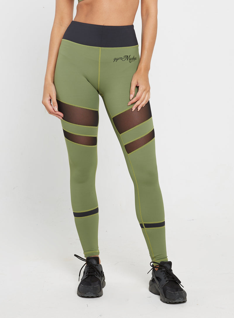 Gym Monkee - Ladies Black and Khaki Leggings FRONT