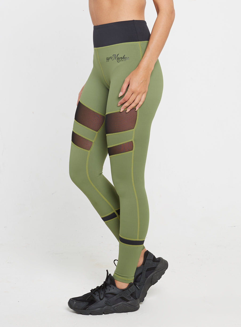 Gym Monkee - Ladies Black and Khaki Leggings LEFT
