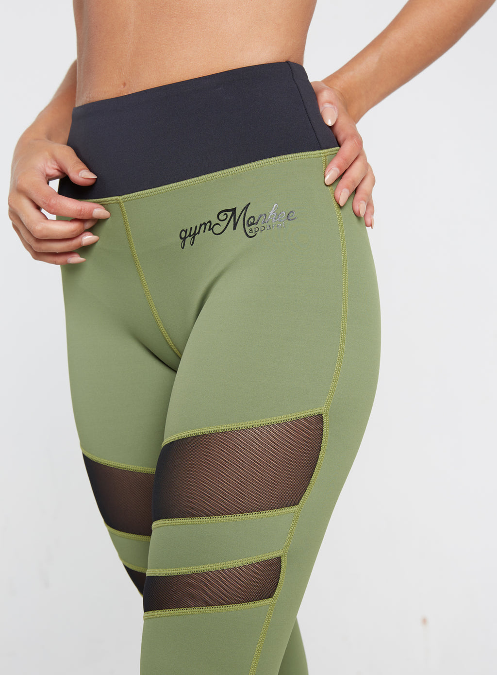 Gym Monkee - Ladies Black and Khaki Leggings FRONT CLOSEUP