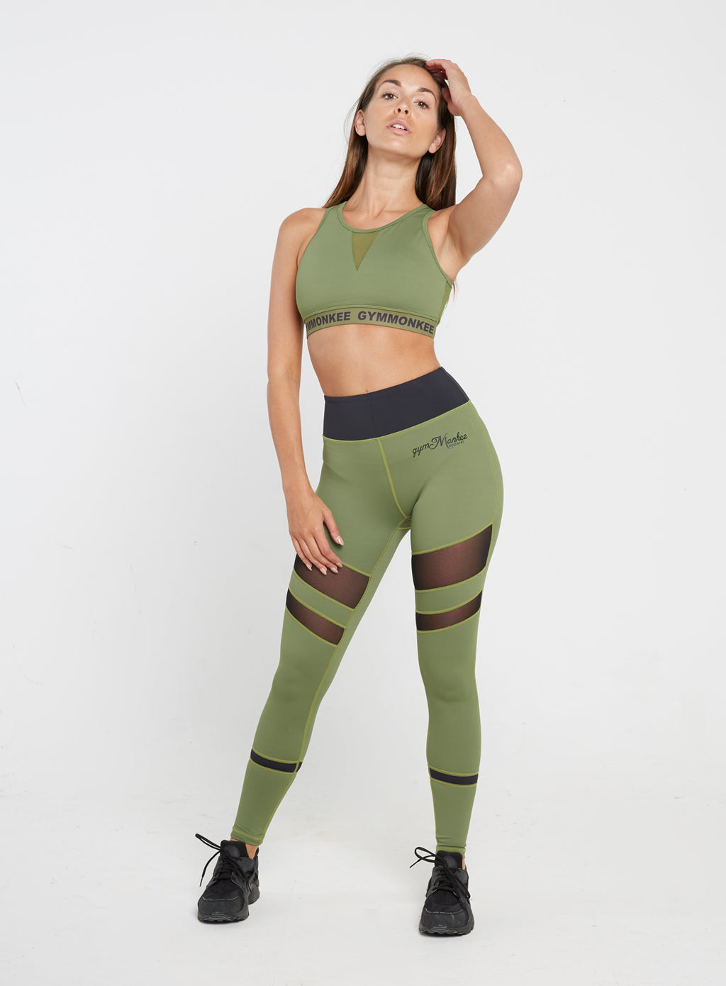 Gym Monkee - Ladies Black and Khaki Leggings FRONT MOVING