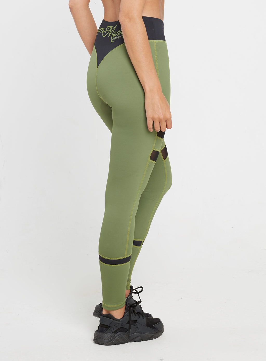 Gym Monkee - Ladies Black and Khaki Leggings RIGHT