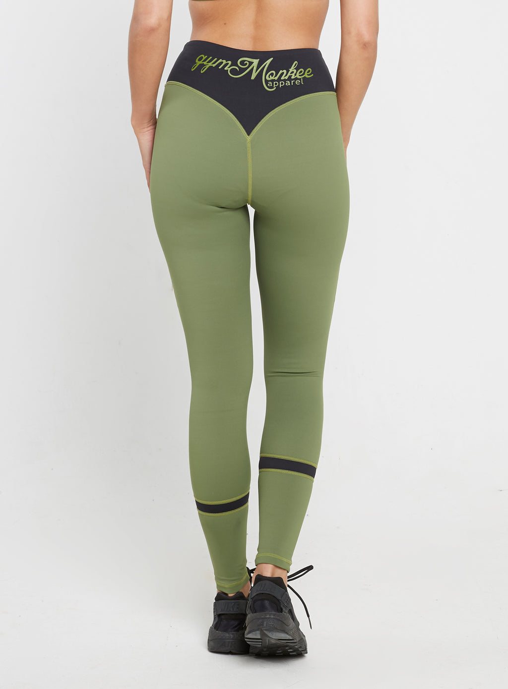 Gym Monkee - Ladies Black and Khaki Leggings REAR