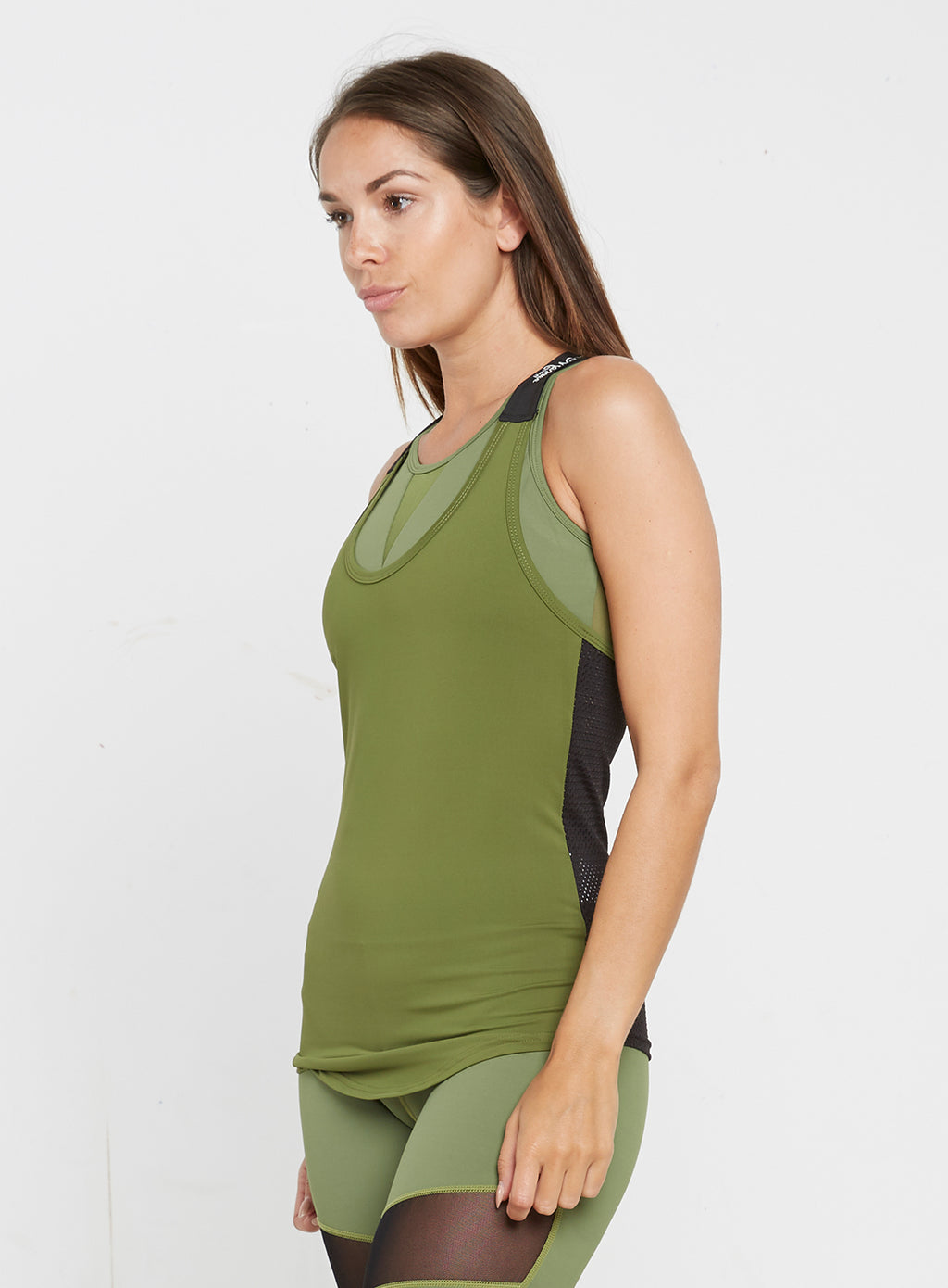 Gym Monkee - Ladies Black and Khaki Strap Top LEFT