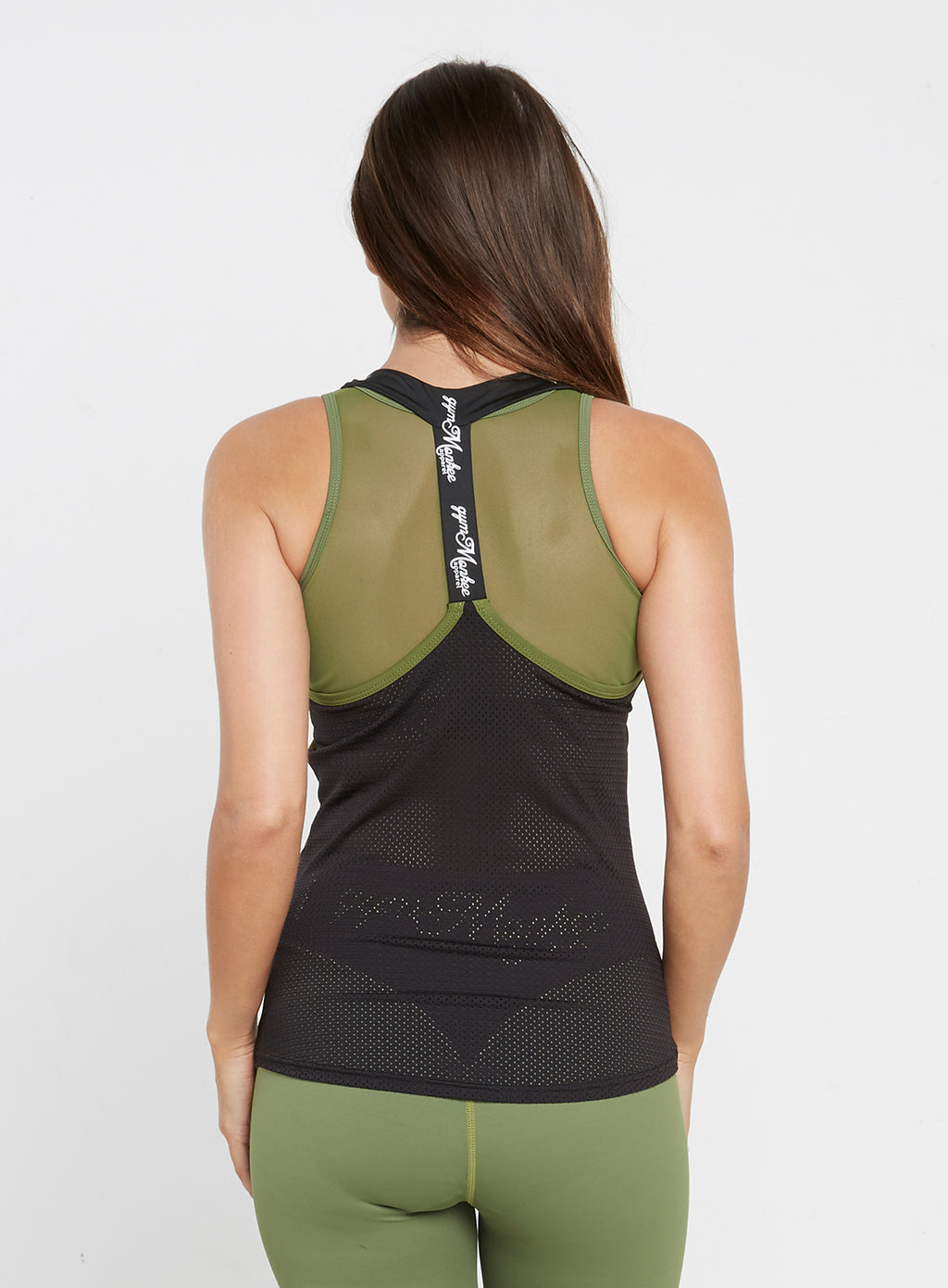 Gym Monkee - Ladies Black and Khaki Strap Top REAR