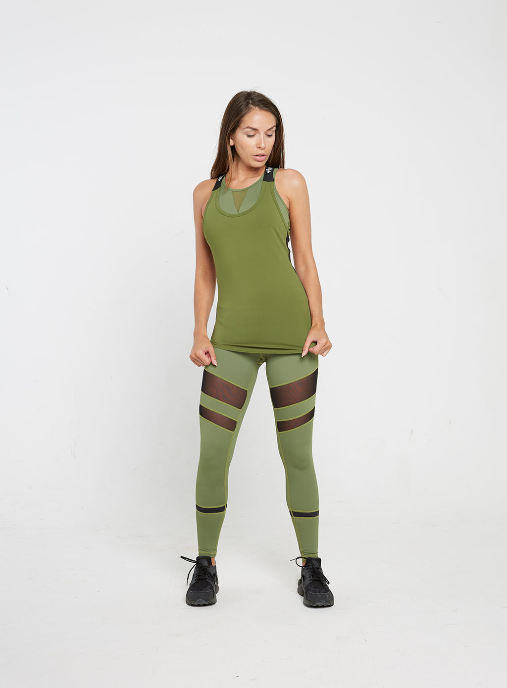 Gym Monkee - Ladies Black and Khaki Strap Top FRONT FULL