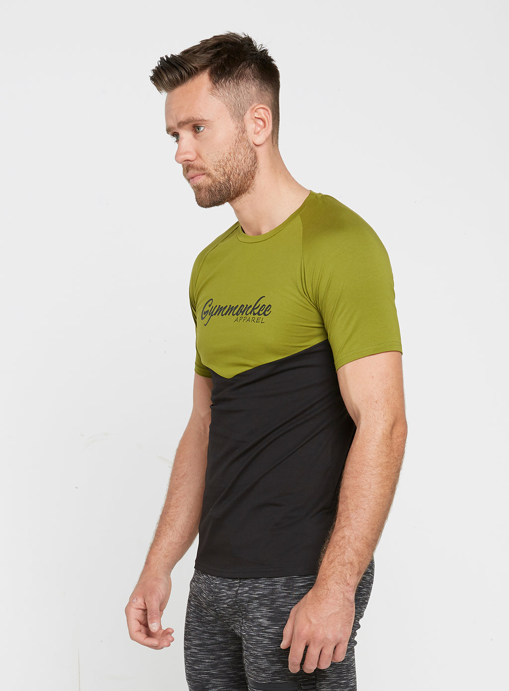 Gym Monkee - Black and Khaki Tee LEFT